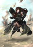 1girl absurdres action arm_strap armor armpits assault_rifle asymmetrical_legwear bangs blue_sky brown_eyes brown_hair case clothes_around_waist collarbone detached_sleeves digi-mind_update_(girls_frontline) dust elbow_pads explosion eyebrows_visible_through_hair floating_hair full_body gauntlets girls_frontline gloves gun hair_between_eyes headset highres holding holding_gun holding_weapon jacket_around_waist light_particles long_hair looking_back m4_carbine m4a1_(girls_frontline) mid-stride multicolored_hair open_mouth outdoors reloading ribbed_sweater rifle running scarf scope sidelocks signature sky smoke solo strap streaked_hair sweater sweater_vest torn_jacket tracer_bullets two-tone_hair upper weapon weapon_case wind wind_lift
