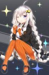 1girl ;) ahoge bangs black_footwear black_jacket blue_eyes blush braid closed_mouth commentary_request double_v dress eyebrows_visible_through_hair fingernails gloves grey_dress hair_between_eyes hair_ornament hands_up highres jacket kamioka_shun'ya kizuna_akari long_hair long_sleeves looking_at_viewer low_twintails one_eye_closed open_clothes open_jacket orange_gloves orange_legwear pantyhose puffy_long_sleeves puffy_sleeves shoes sidelocks silver_hair sitting smile solo sparkle striped striped_legwear tongue tongue_out twin_braids twintails v vertical-striped_gloves vertical-striped_legwear vertical_stripes very_long_hair voiceroid