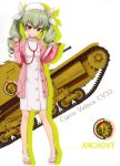 1girl absurdres anchovy bangs blunt_bangs brown_eyes carro_veloce_cv-33 character_name dress drill_hair eyebrows_visible_through_hair girls_und_panzer green_hair ground_vehicle hair_between_eyes hair_ribbon hat highres holding long_hair military military_vehicle motor_vehicle nurse ribbon short_dress solo stethoscope tank twin_drills twintails white_dress white_hat white_ribbon
