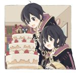 1boy 1girl ahoge artist_request black_hair blush cake dual_persona fire_emblem fire_emblem:_kakusei fire_emblem_heroes food gloves highres hood hooded_jacket jacket long_hair mark_(fire_emblem) open_mouth short_hair smile