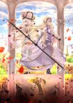 2girls arch armor armored_dress bangs bare_shoulders blonde_hair blue_eyes blue_sky boots bow braid breasts clouds cloudy_sky commentary_request day different_reflection dress eyebrows_visible_through_hair fate/apocrypha fate/grand_order fate_(series) flag flower frilled_hat frills gauntlets hair_between_eyes hair_bow hair_flower hair_ornament hat headpiece high_heel_boots high_heels highres holding holding_flag iroha_(shiki) jeanne_d'arc_(fate) jeanne_d'arc_(fate)_(all) long_hair marie_antoinette_(fate/grand_order) medium_breasts multiple_girls outdoors petals pillar profile purple_bow purple_flower purple_rose reflection rose silver_hair sitting sky sleeveless sleeveless_dress standard_bearer standing standing_on_one_leg thigh-highs thigh_boots twintails very_long_hair white_dress white_footwear white_hat white_legwear