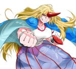 1girl alcohol angeldust bangs blonde_hair blue_cape blue_skirt breasts buruma cape cleavage clenched_hand commentary_request cowboy_shot cuffs cup foreshortening grass_print grin horn hoshiguma_yuugi large_breasts leaf_print long_hair muscle muscular_female neck red_eyes sakazuki sake see-through shackles shiny shiny_hair shirt short_sleeves simple_background skirt slit_pupils smile solo spilling striped striped_skirt thick_thighs thighs touhou very_long_hair white_background white_shirt