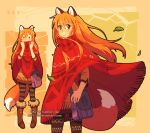 1girl animal_ears bag boots dav-19 fox_ears fox_girl fox_tail fur-trimmed_boots fur_trim handbag leaf long_hair orange_hair original pantyhose patricia_(dav-19) paw_print poncho smile solid_oval_eyes tail wind