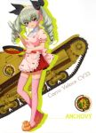 1girl absurdres anchovy apron bangs black_ribbon brown_eyes carro_veloce_cv-33 character_name cookin drill_hair eyes full_body girls_und_panzer green_hair ground_vehicle hair_between_eyes hair_ribbon highres holding long_hair military military_vehicle miniskirt motor_vehicle pink_apron pink_ribbon red_skirt ribbon skirt solo standing tank thigh-highs twin_drills white_background white_legwear zettai_ryouiki