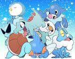 beak blue blue_background closed_eyes crossed_arms froakie gen_1_pokemon gen_2_pokemon gen_3_pokemon gen_4_pokemon gen_5_pokemon gen_6_pokemon gen_7_pokemon kicking looking_at_another looking_back minashirazu mudkip no_humans open_mouth oshawott piplup pokemon pokemon_(creature) popplio sharp_teeth shell sleeping squirtle sunglasses tail teeth totodile trait_connection