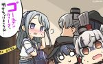 3girls :> ? akatsuki_(kantai_collection) amatsukaze_(kantai_collection) anchor_symbol bag black_hair blood blush brown_eyes commentary_request dated eyebrows_visible_through_hair flat_cap from_behind grey_hair hamu_koutarou hat highres kantai_collection long_hair multiple_girls nose_blush o_o open_mouth sagiri_(kantai_collection) school_uniform serafuku shaded_face sweat translation_request violet_eyes