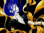 1other androgynous bangs black_background blue_eyes blue_hair blunt_bangs falling gem_uniform_(houseki_no_kuni) gold houseki_no_kuni long_hair looking_at_viewer open_clothes open_shirt phosphophyllite phosphophyllite_(ll) solo spoilers tezo_(mokka_mk)