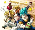 3boys abs blonde_hair blue_eyes commentary dragon_ball dragon_ball_super dragonball_z earrings english english_commentary gift gogeta gotenks grin happy_birthday highres jewelry kim_yura_(goddess_mechanic) long_hair male_focus multiple_boys muscle potara_earrings smile star super_saiyan super_saiyan_3 super_saiyan_blue vegetto vest