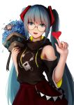 1girl :d bangs black_sweater blue_eyes blue_flower blue_hair bouquet eyebrows_visible_through_hair flower glasses hair_ornament hatsune_miku heart highres holding holding_bouquet index_finger_raised long_hair looking_at_viewer open_mouth red_skirt round_eyewear shimmer shoulder_cutout simple_background skirt smile solo standing sweater twintails very_long_hair vocaloid white_background