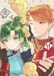 1boy 1girl blush fire_emblem fire_emblem:_rekka_no_ken flower green_hair jewelry kent_(fire_emblem) kiyuu lyndis_(fire_emblem) ponytail redhead