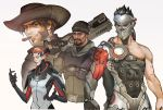 1girl 3boys alternate_costume beanie black_hair blackwatch_(overwatch) blackwatch_genji blackwatch_mccree blackwatch_moira blackwatch_reyes brown_hair collage cyborg dark_skin facial_hair genji_(overwatch) goatee gun hat male_focus mccree_(overwatch) mistermagnolia moira_(overwatch) multiple_boys over_shoulder overwatch reaper_(overwatch) red_eyes redhead shotgun sideburns weapon weapon_over_shoulder younger