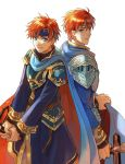 1boy age_comparison akke armor blue_eyes eliwood_(fire_emblem) fire_emblem fire_emblem:_fuuin_no_tsurugi fire_emblem:_rekka_no_ken headband holding holding_weapon looking_at_viewer pauldrons redhead simple_background sword weapon white_background