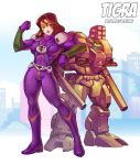1girl alien aqua_eyes arm_cannon armor bodysuit bokuman boots brown_hair building chest_cannon choujikuu_yousai_macross cityscape clouds destroid energy_cannon energy_gun giantess gloves insignia leaning_back leaning_on_object lips looking_at_viewer macross mecha meltrandi missile_pod muscle muscular_female pilot_suit raised_fist size_difference tomahawk_(destroid) two-tone_skin weapon zentradi
