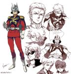 capelet char_aznable clenched_teeth epaulettes gloves gundam hat helmet jacket kim_yura_(goddess_mechanic) mask mobile_suit_gundam multiple_persona necktie quattro_vageena scar signature smile sunglasses teeth twitter_username white_footwear white_gloves younger