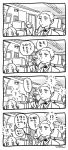 2girls 3boys 4koma ? ahoge artist_name avicebron_(fate) bangs cape ceiling chair collared_shirt comic door fate/grand_order fate_(series) fujimaru_ritsuka_(female) greyscale indoors leonardo_da_vinci_(fate/grand_order) long_hair machinery medium_hair mo(zu)co monitor monochrome multiple_boys multiple_girls neck_ribbon one_side_up parted_bangs pipe pipe_in_mouth pleated_skirt ribbon sherlock_holmes_(fate/grand_order) shirt skirt speech_bubble thought_bubble translation_request uniform wall
