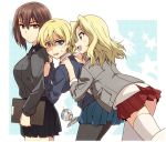 3girls against_wall bangs black_legwear black_skirt blazer blonde_hair blouse blue_eyes blue_skirt blue_sweater braid brown_eyes brown_hair clipboard commentary cup darjeeling dress_shirt dropping eyebrows_visible_through_hair girls_und_panzer grey_jacket grey_shirt hair_intakes hands_on_another's_shoulders holding jacket kay_(girls_und_panzer) kuromorimine_school_uniform leaning_forward long_hair long_sleeves looking_back miniskirt multiple_girls nishizumi_maho open_clothes open_jacket open_mouth pantyhose pleated_skirt red_skirt saucer saunders_school_uniform school_uniform shirt short_hair skirt sleeves_rolled_up smile spilling st._gloriana's_school_uniform standing standing_on_one_leg star starry_background sweatdrop sweater teacup thigh-highs tied_hair tsuchinoko_(muni_muni) twin_braids white_blouse white_legwear white_shirt