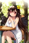 1girl bangs black_wings bow breast_rest breasts brown_hair chair cleavage closed_mouth commentary_request day dress efe flower green_bow hair_between_eyes hair_bow hair_flower hair_ornament interlocked_fingers large_breasts legs_together long_hair looking_at_viewer mole mole_on_breast outdoors red_eyes reiuji_utsuho sitting smile solo touhou very_long_hair white_dress wings