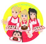 4girls apron black_eyes black_hair blonde_hair blue_eyes blush braid brown_eyes cake chocolate circle cookie dessert double_bun eyebrows_visible_through_hair folded_ponytail food fullmetal_alchemist grey_eyes hanayama_(inunekokawaii) happy_valentine height_difference holding lan_fan looking_at_viewer may_chang multiple_girls open_mouth pastry ponytail red_apron red_collar riza_hawkeye shirt smile valentine white_background white_shirt winry_rockbell yellow_background