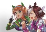 2girls andou_shuuki animal_ears black_gloves braid brown_hair capelet ear_covers french_braid gloves green_eyes hairband half_updo highres horse_ears long_hair multicolored_hair multiple_girls open_mouth orange_hair running school_uniform short_hair silence_suzuka simple_background special_week two-tone_hair umamusume upper_body violet_eyes white_background