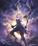 1girl armored_boots armpits banner blue_eyes blue_pants boots clouds cloudy_sky day floating_hair gloves granblue_fantasy highres hisakata_souji holding holding_sword holding_weapon jeanne_d'arc_(granblue_fantasy) knee_boots long_hair looking_at_viewer outdoors pants red_gloves silver_hair sky solo_focus standing sword weapon