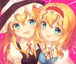 2girls :d absurdres alice_margatroid black_hat blonde_hair blue_eyes bow breasts capelet cleavage commentary_request hair_between_eyes hair_bow hairband hat highres kirisame_marisa lolita_hairband long_hair looking_at_viewer medium_breasts multiple_girls neck_ribbon nenobi_(nenorium) open_mouth pink_background puffy_short_sleeves puffy_sleeves red_hairband red_neckwear red_ribbon ribbon short_hair short_sleeves smile touhou upper_body white_bow white_capelet wing_collar witch_hat