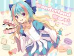 1girl :d bangs blonde_hair blue_bow blue_gloves blue_hair blue_skirt blush bow breasts candy_wrapper character_request checkerboard_cookie commentary_request cookie copyright_name eyebrows_visible_through_hair food frilled_bow frills gloves hair_between_eyes hair_bow holding kuroe_(sugarberry) leaning_forward long_sleeves macaron multicolored_hair open_mouth pennant puffy_short_sleeves puffy_sleeves shirt short_over_long_sleeves short_sleeves skirt small_breasts smile solo string_of_flags striped striped_legwear sunshine_creation thigh-highs two-tone_hair upper_teeth vertical-striped_legwear vertical_stripes violet_eyes white_shirt wide_sleeves wonderland_wars