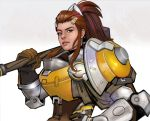 1girl brigitte_(overwatch) brown_eyes brown_hair eyebrows freckles hair_ornament hairclip hand_on_hip long_hair mace mistermagnolia nose over_shoulder overwatch ponytail power_armor solo upper_body weapon weapon_over_shoulder