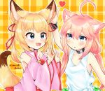 2girls :3 :d ahoge animal_ears arm_up bell blonde_hair blue_eyes cat_ears choker choko_omochi detached_sleeves fang fox_ears fox_tail hair_bobbles hair_ornament hand_on_another's_ear highres hinata_channel japanese_clothes jingle_bell kemomimi_vr_channel long_hair low_twintails miko mikoko_(kemomimi_vr_channel) miniskirt multiple_girls nekomiya_hinata open_mouth petting pink_hair pink_shirt red_skirt ribbon shirt skirt smile tail twintails upper_body vest virtual_youtuber white_vest
