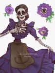 1girl anz black_hair braid choker closed_eyes coco_(disney) disney dress earrings flower highres imelda_rivera jewelry long_hair makeup mexican_dress microphone skeleton skull smile