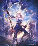2girls armored_boots armpits banner black_pants blue_eyes blue_pants boots breasts clouds cloudy_sky day floating_hair gloves granblue_fantasy hair_ornament highres hisakata_souji holding holding_sword holding_weapon jeanne_d'arc_(granblue_fantasy) knee_boots long_hair looking_at_viewer medium_breasts multiple_girls outdoors pants red_gloves redhead silver_hair sky solo_focus standing sword torn_clothes torn_pants weapon