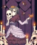1girl adventure_time breasts bug butterfly candle closed_mouth commentary creature crown dav-19 dress english_commentary eyelashes fire flying grey_hair holding holding_mask horns humanization indoors insect long_sleeves mask medium_breasts one_eye_covered princess purple_background short_hair signature skeleton_princess skull skull_mask smile solo violet_eyes watermark web_address white_dress