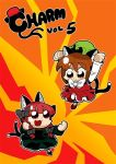 2girls :3 animal_ears bkub black_bow black_footwear black_fur bow bowtie braid brown_hair cat_ears cat_tail chen cover dress eyebrows_visible_through_hair fighting_stance frilled_dress frills green_dress green_hat hair_bow hat kaenbyou_rin long_sleeves looking_down looking_up lowres mob_cap multicolored multicolored_background multiple_girls multiple_tails orange_eyes red_dress red_footwear redhead simple_background tail title touhou twin_braids white_neckwear
