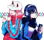 2girls absurdres aqua_eyes baseball_cap blue_hair candy casual cellphone commentary_request darling_in_the_franxx eyebrows_visible_through_hair fang food green_eyes hair_between_eyes hair_ornament hairclip hat headphones highres holding holding_cellphone holding_food holding_phone hood hood_down hoodie horns ichigo_(darling_in_the_franxx) lollipop looking_at_viewer multiple_girls open_mouth phone pink_hair red_horns smartphone smile yoshi2_oide zero_two_(darling_in_the_franxx)