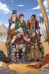 5boys alderion-al amputee dark_skin dark_skinned_male desert dog eyepatch glasses hat highres iggy_(jojo) jean_pierre_polnareff jojo_no_kimyou_na_bouken joseph_joestar kakyouin_noriaki kuujou_joutarou long_coat long_hair mohammed_avdol multiple_boys older ponytail scar stardust_crusaders wheelchair
