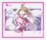 1girl :d altaria blue_eyes border bow bracelet breasts brown_hair buttons character_name earrings eyebrows eyebrows_visible_through_hair eyelashes full_body gem gen_3_pokemon hair_bow haruka_(pokemon) heart high_heels highres jewelry leg_up long_hair medium_breasts mega_altaria mega_pokemon miniskirt multicolored multicolored_clothes multicolored_skirt nomura_(buroriidesu) one_side_up open_mouth outstretched_arms palms pink_border pink_bow pink_footwear pleated_skirt poke_ball poke_ball_(generic) pokemon pokemon_(creature) pokemon_(game) pokemon_oras shoes skirt smile solo standing standing_on_one_leg tongue
