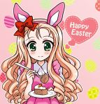 1girl animal_ears blonde_hair bow burafu cake carrot_cake closed_mouth collared_dress commentary_request dress drill_hair easter_egg egg english fake_animal_ears food fork girls_und_panzer green_eyes hair_bow happy_easter holding holding_fork long_hair marie_(girls_und_panzer) pink_background pink_dress plate puffy_short_sleeves puffy_sleeves rabbit_ears red_bow short_sleeves smile solo upper_body