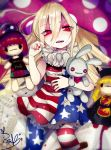 1girl alternate_legwear american_flag_dress american_flag_legwear black_dress black_shirt blonde_hair chains chinese_clothes clothes_writing clownpiece collar dress frilled_shirt_collar frills fua_yuu gold_chain hat hecatia_lapislazuli jester_cap junko_(touhou) leggings long_hair long_sleeves moon_(ornament) multicolored multicolored_clothes neck_ruff off-shoulder_shirt open_mouth orange_hair pantyhose pink_eyes plaid plaid_skirt polka_dot polos_crown print_legwear red_eyes redhead sash shirt short_dress short_sleeves skirt star star_print striped stuffed_animal stuffed_bunny stuffed_toy t-shirt tabard touhou very_long_hair wide_sleeves