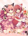 2girls dual_persona food fruit looking_at_viewer mew_ichigo momomiya_ichigo multiple_girls namesake rento_(rukeai) strawberry tokyo_mew_mew