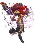 1boy annoyed belt black_cape black_coat black_footwear boots cape coat energy energy_ball facial_mark fire_emblem fire_emblem:_seisen_no_keifu fire_emblem_heroes forehead_mark highres holding_cape injury long_coat long_hair long_sleeves official_art pants parted_lips pointing pointing_at_viewer red_eyes redhead shoulder_pads sidelocks smile torn_cape torn_clothes torn_coat torn_sleeves white_pants yurius_(fire_emblem)