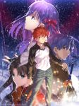2boys 2girls absurdres bangs blue_eyes blue_pants brown_hair clenched_hand closed_mouth denim emiya_shirou excalibur fate/stay_night fate_(series) gae_bolg hair_ribbon heaven's_feel highres jeans lance legs_apart long_hair long_sleeves looking_at_viewer matou_sakura matou_shinji multiple_boys multiple_girls official_art pants parted_bangs planted_sword planted_weapon polearm purple_hair raglan_sleeves red_ribbon red_shirt redhead ribbon scarf shirt source_request standing sword takeuchi_takashi tohsaka_rin two_side_up unlimited_blade_works watermark weapon yellow_eyes