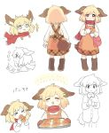 >_< 1girl :3 :d ^_^ animal_ears bag baking_sheet blonde_hair boots closed_eyes croissant dog_ears dog_tail dress dress_shirt eating expressions food giving happy highres mittens naked_shirt open_mouth original oven_mitts pinafore_dress pink_eyes sasa_kichi scared scarf shirt short_hair shoulder_bag smile sweat tail