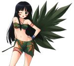 1girl absurdres bare_shoulders bikini_top black_hair facepaint hand_on_hip highres holding jewelry jinki leaf long_hair midriff navel necklace sarong solo strapless strapless_bikini tattoo tsuzaki_aoba violet_eyes white_background wings
