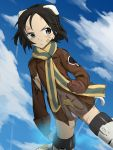 1girl animal_ears bandaid bandaid_on_face black_eyes black_hair blood brave_witches brown_gloves brown_jacket brown_shirt clenched_hands closed_mouth clouds cloudy_sky crotch_seam damaged day emblem energy fankupl flying frown gloves half-closed_eye highres injury jacket kanno_naoe looking_at_viewer military military_uniform multicolored multicolored_clothes multicolored_scarf no_pants panties scarf scratches shirt short_hair sky solo striker_unit striped striped_scarf sweat tail torn_clothes torn_jacket underwear uniform v-shaped_eyebrows white_panties wind world_witches_series