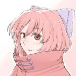 1girl bangs blue_bow blush bow cape commentary_request eyebrows_visible_through_hair hair_bow high_collar looking_at_viewer outline parted_lips pink_background poronegi portrait red_cape red_eyes redhead sekibanki short_hair solo touhou two-tone_background white_background white_outline
