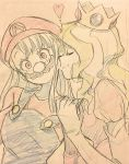 2girls cheek_kiss closed_eyes commentary_request cosplay crown diana_cavendish fake_facial_hair fake_mustache highres kagari_atsuko kiss little_witch_academia mario mario_(cosplay) mochiro_anm multiple_girls princess_peach princess_peach_(cosplay) sketch yuri