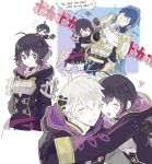 1girl 2boys ahoge black_hair blue_eyes blue_hair blush book closed_eyes father_and_daughter fire_emblem fire_emblem:_kakusei gloves hood hooded_jacket hug jacket krom long_hair mark_(fire_emblem) multiple_boys my_unit_(fire_emblem:_kakusei) noii open_mouth short_hair smile white_hair