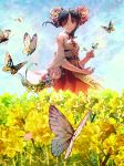 1girl black_hair blue_sky brown_eyes butterfly_on_hand day detached_sleeves eyebrows_visible_through_hair floating_hair flower hair_flower hair_ornament hair_over_one_eye highres long_hair long_skirt outdoors pink_flower red_skirt shadowverse skirt sky solo yasu8hasu yellow_flower