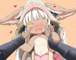 1girl animal_ears bangs blush brown_background brown_eyes ears_through_headwear eyebrows_visible_through_hair fangs grey_hat hands_on_another's_cheeks hands_on_another's_face hat heart long_sleeves looking_at_viewer made_in_abyss makuran nanachi_(made_in_abyss) nose_blush one_eye_closed open_mouth out_of_frame paws polka_dot polka_dot_background solo_focus topless translation_request whiskers white_hair