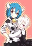 2girls :d absurdres animal_print bell bell_choker blue_hair blush breasts brown_hair choker closed_mouth clothes_writing cow_print eyebrows_visible_through_hair fang fang_out hair_between_eyes hair_over_one_eye halftone hand_on_another's_head head_tilt highres horns hug jacket jashin-chan_dropkick large_breasts looking_at_viewer minos_(jashin-chan_dropkick) multiple_girls open_clothes open_jacket open_mouth persephone_ii pointy_ears red_background red_eyes shirt signature skirt smile suspender_skirt suspenders twisted_neck white_shirt yyuki317