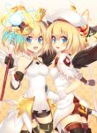 2girls beret black_gloves black_wings blonde_hair blue_eyes blue_light boots copyright_request covered_navel crown fingerless_gloves gloves hat holding holding_staff looking_at_viewer mismatched_gloves mismatched_wings multiple_girls open_mouth rento_(rukeai) short_hair shorts smile staff thigh-highs white_gloves white_wings wings
